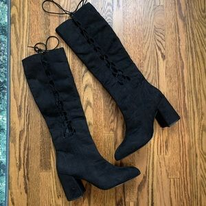 Nasty Gal Side Story Lace-Up Boot Black